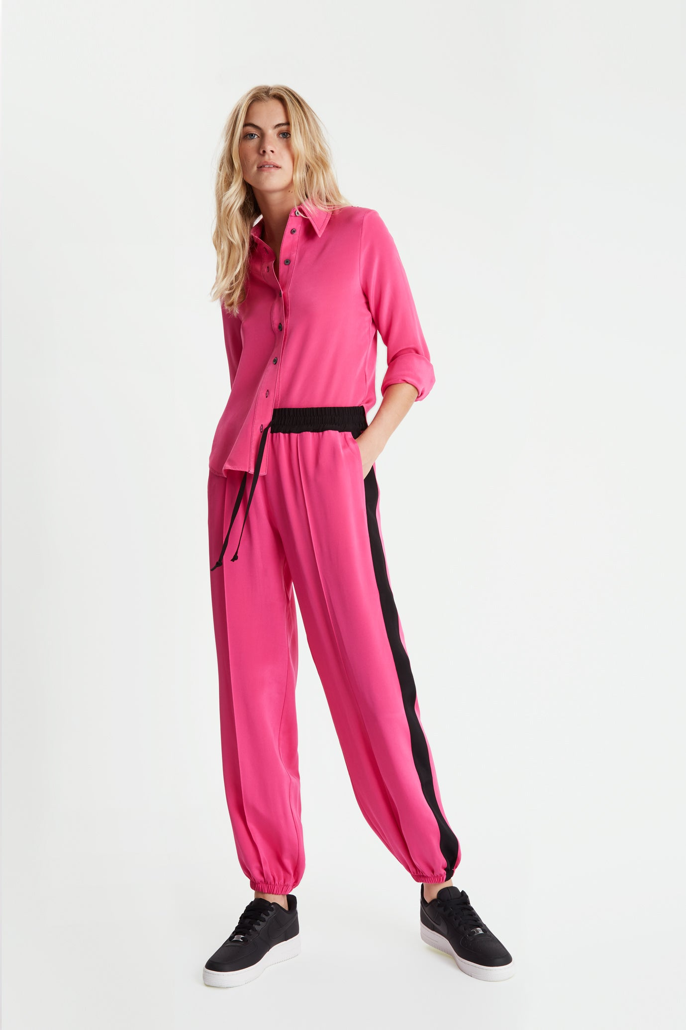 The Classic Jogger Gathered - Bubblegum & Black Silk - SERENA BUTE