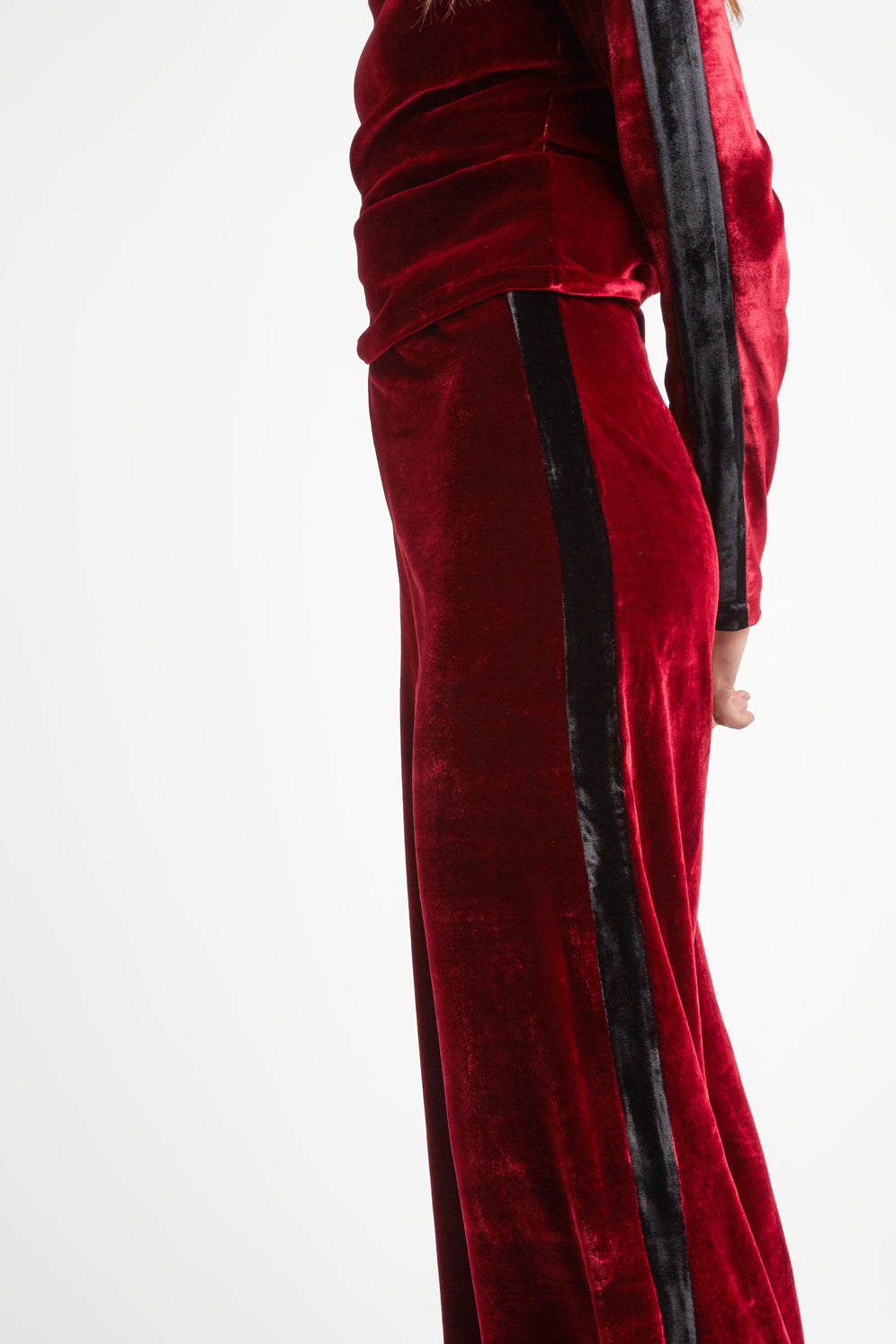 The Flare Trousers - Burgundy & Black Stretch Velvet - SERENA BUTE