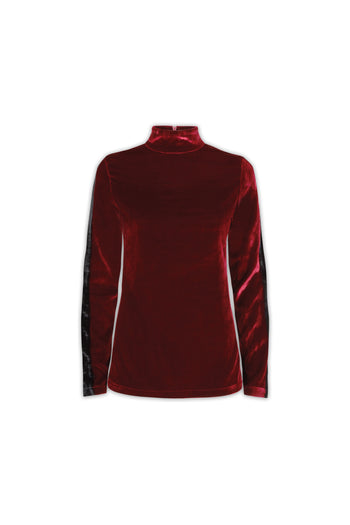 The Polo Neck - Burgundy & Black Velvet