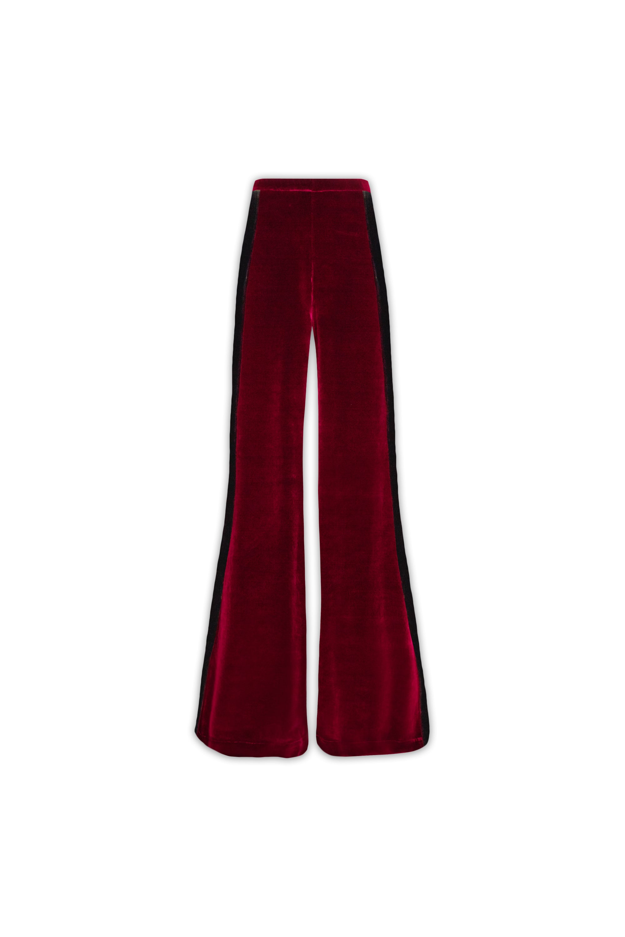The Flare Trousers - Burgundy & Black Stretch Velvet