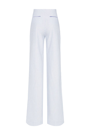The Camilla Trousers - Blue Stripe Cotton - SERENA BUTE
