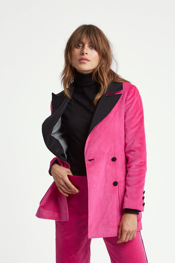 The Double Breasted Blazer - Cerise Pink Velvet - SERENA BUTE