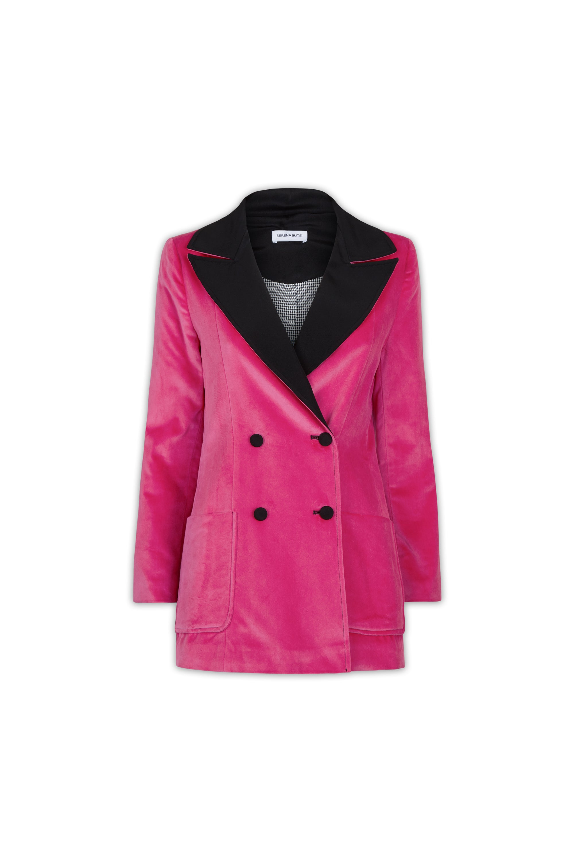 The Double Breasted Blazer - Cerise Pink Velvet