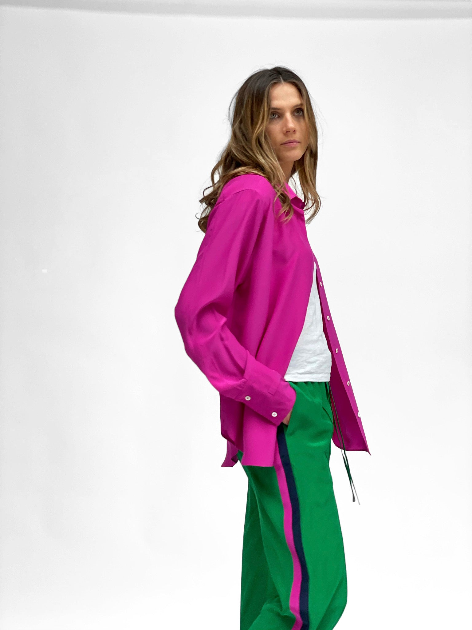 classic wide leg jogger emerald green deep pink navy blue silk womens serena bute