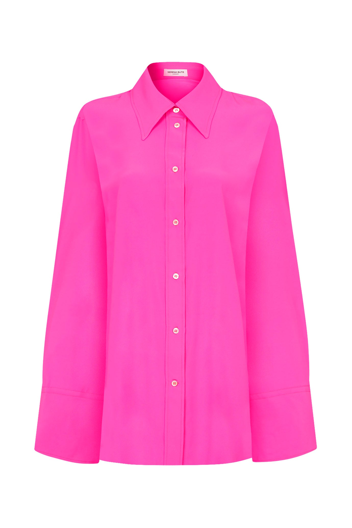 The Extra Oversized Shirt - Shocking Pink Silk - SERENA BUTE