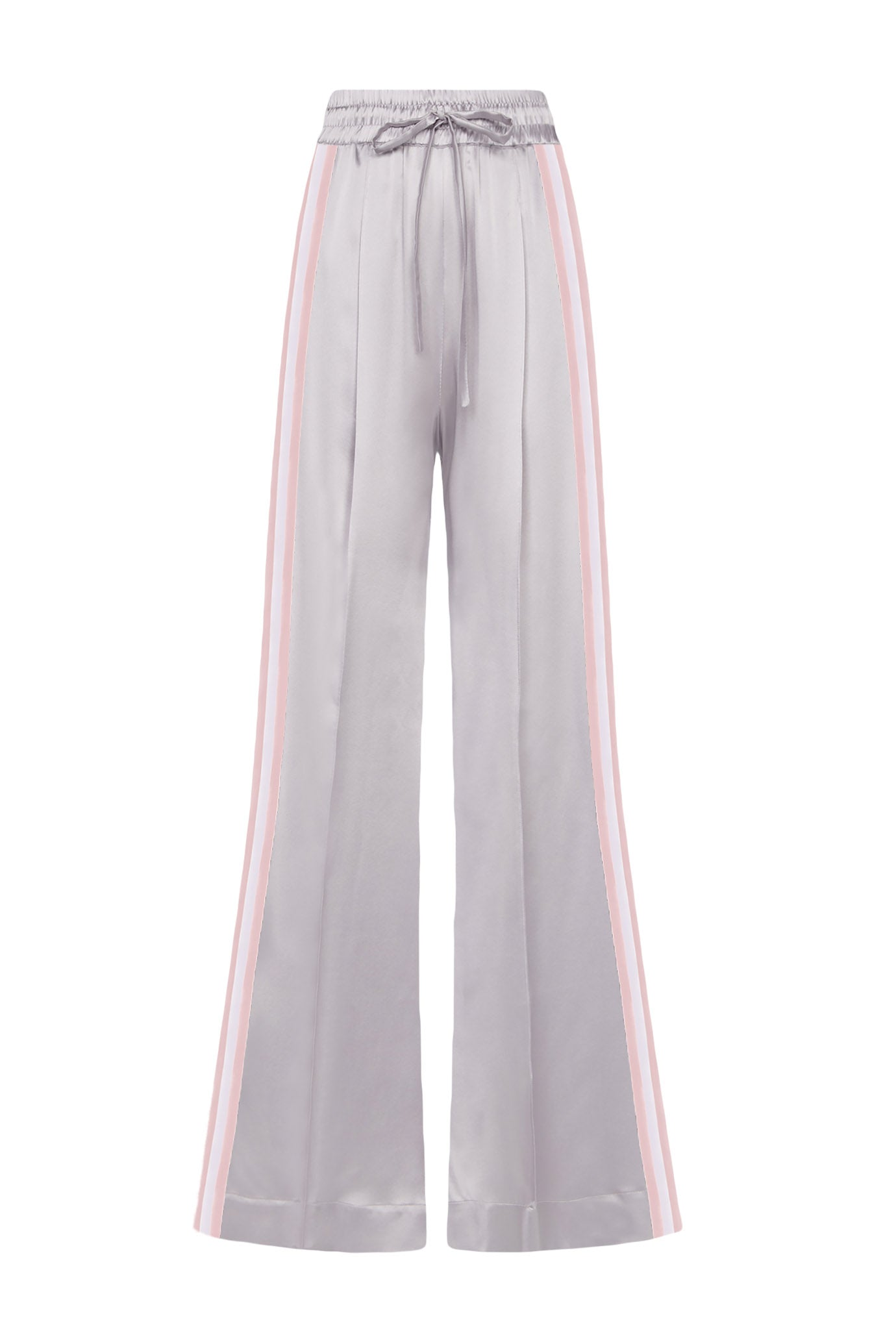 The Extra Wide Jogger - Silver & Pale Pink Silk - SERENA BUTE