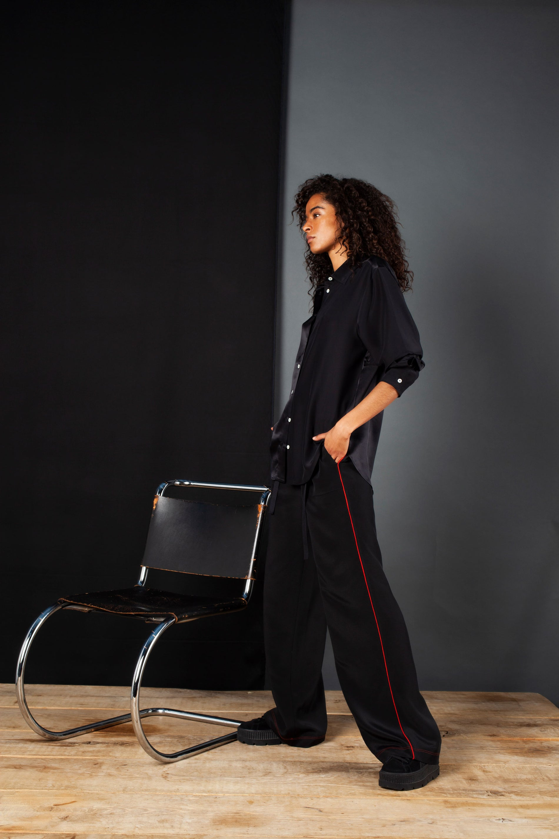 The Flat Fronted Jogger - Black & Red Silk