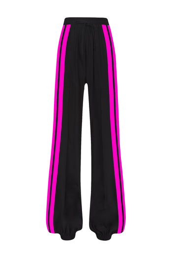 The Classic Jogger Gathered - Black & Shocking Pink Silk - SERENA BUTE