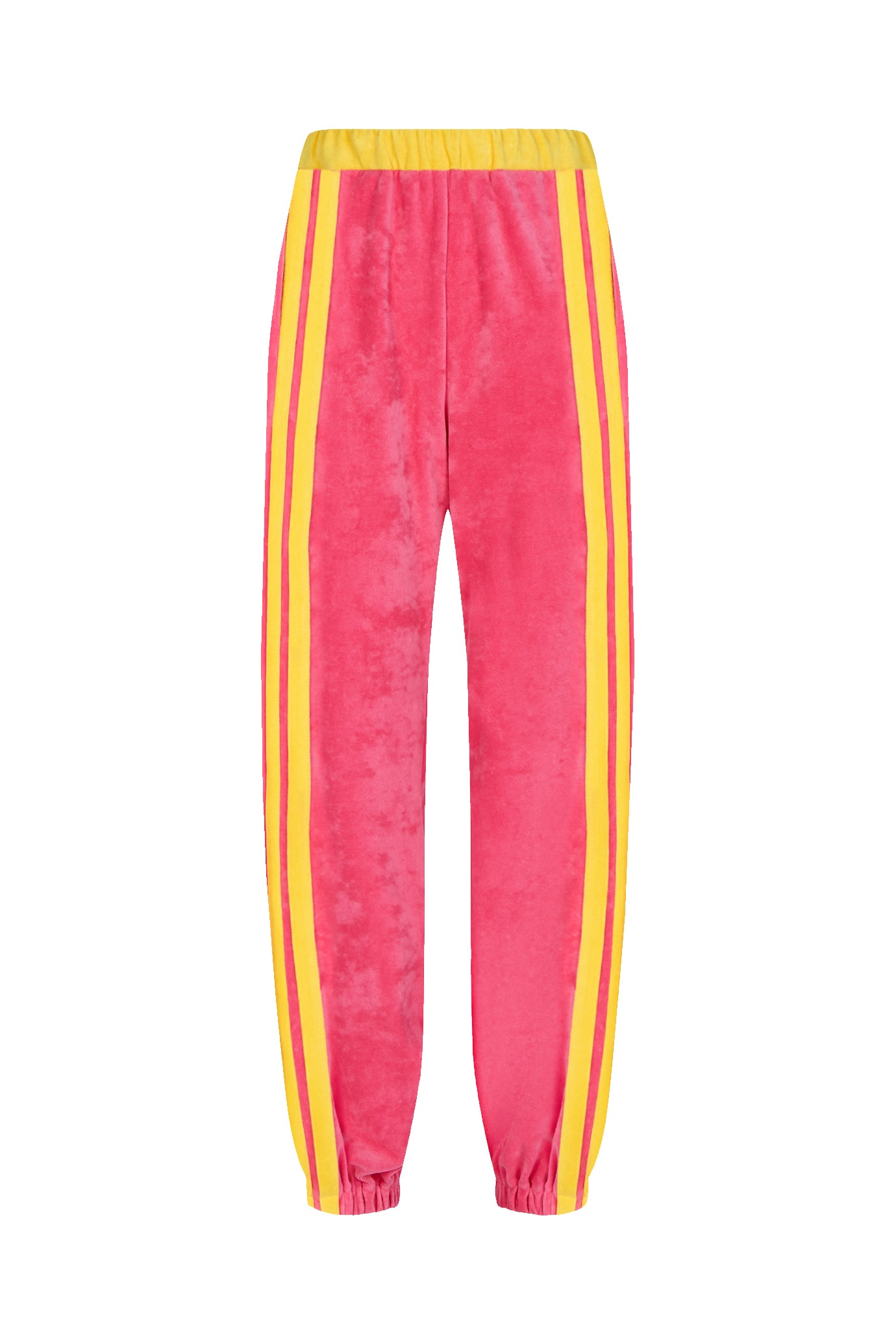 gathered hem jogger pink yellow velour serena bute