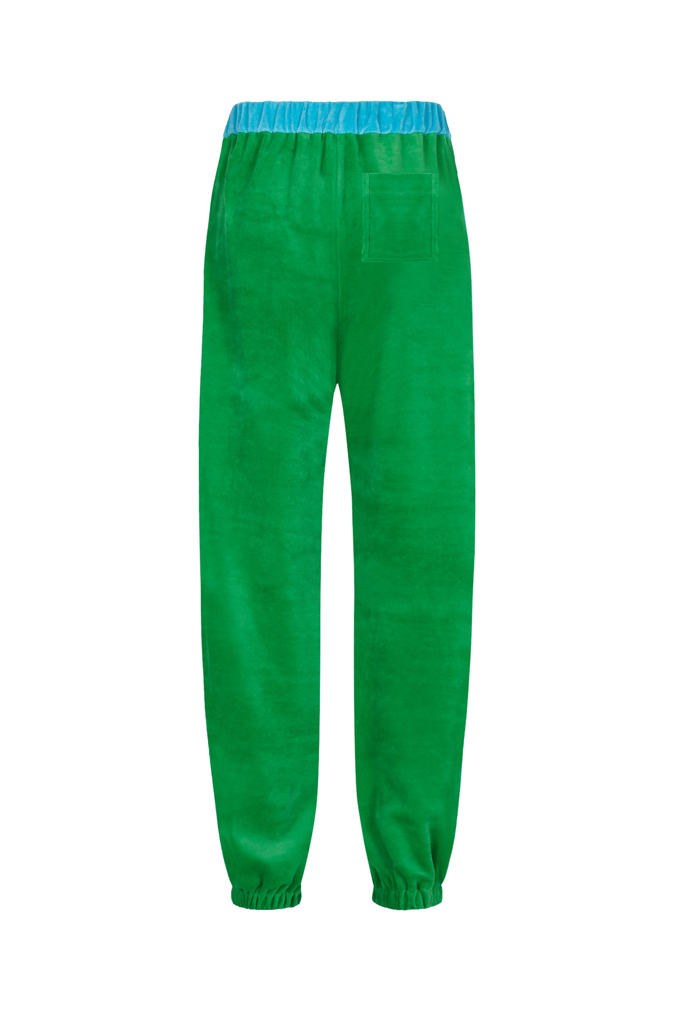 classic wide leg jogger gathered emerald green and blue velour womens serena bute