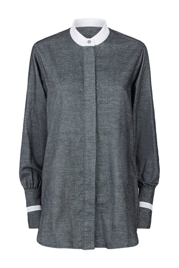 The Collarless Shirt - Dark Grey & White Brushed Cotton - SERENA BUTE