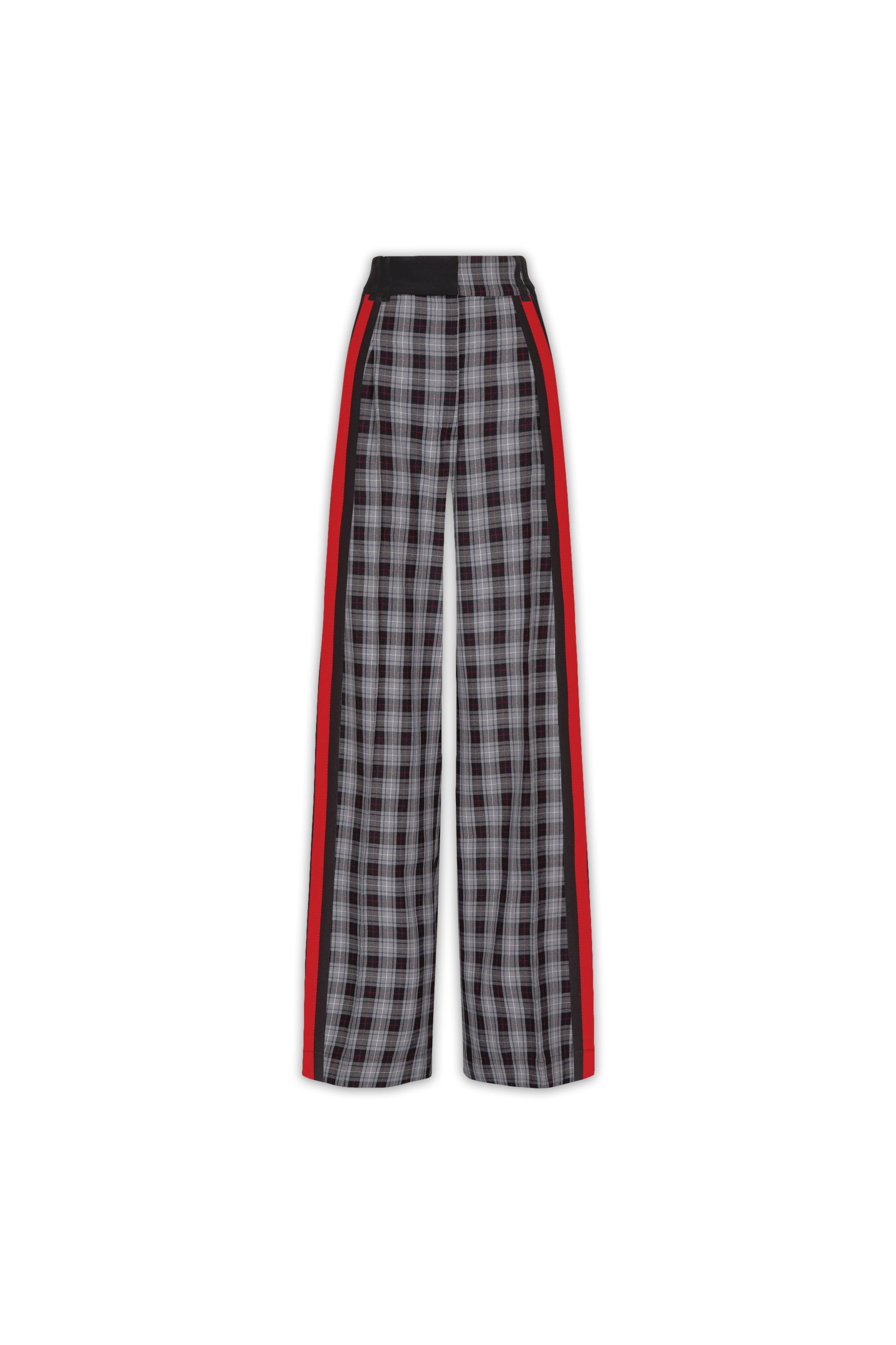 The Serena Trouser - Grey, Black & Poppy Red Plaid Cotton - SERENA BUTE