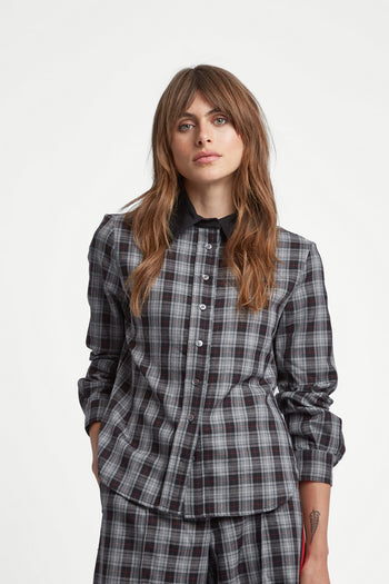 The Serena Shirt - Grey, Black & Poppy Red Plaid Cotton - SERENA BUTE