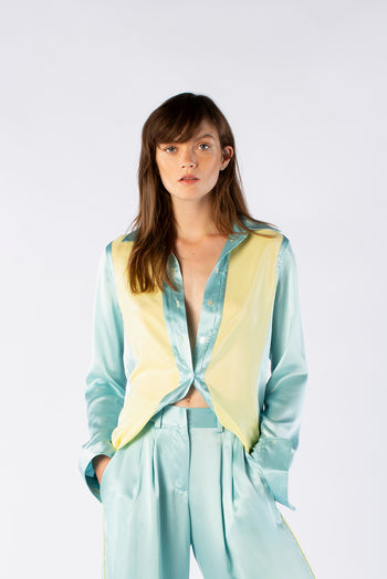 Two Tone Tailored Shirt - Spearmint & Buttermilk Silk - SERENA BUTE
