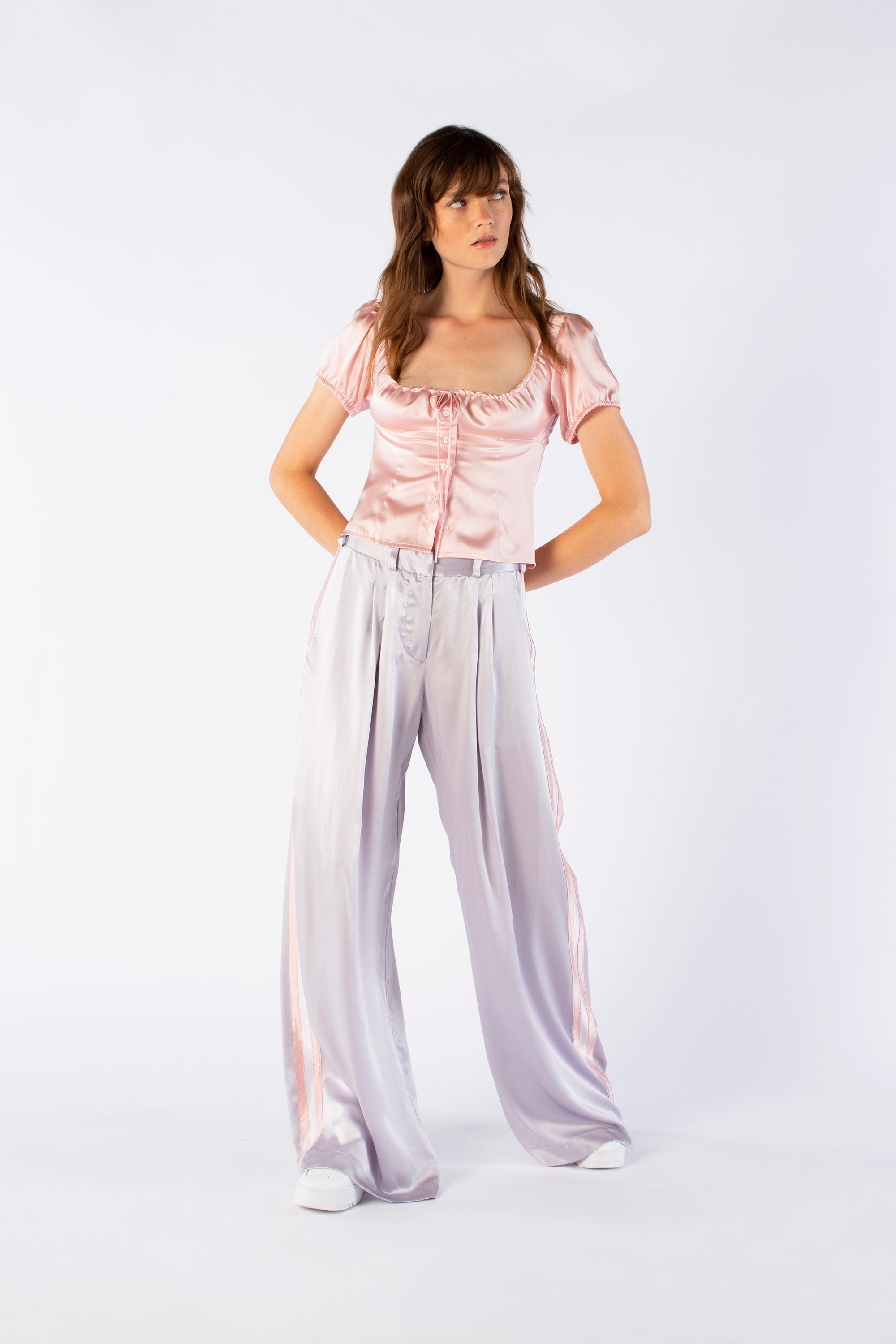 The Serena Trouser - Silver & Dusky Pink Silk - SERENA BUTE