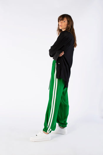 The Classic Jogger Gathered - Emerald Green & White Silk - SERENA BUTE