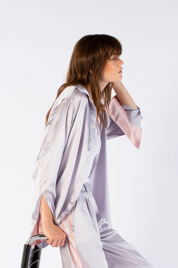 The Oversized Shirt - Silver Silk - SERENA BUTE