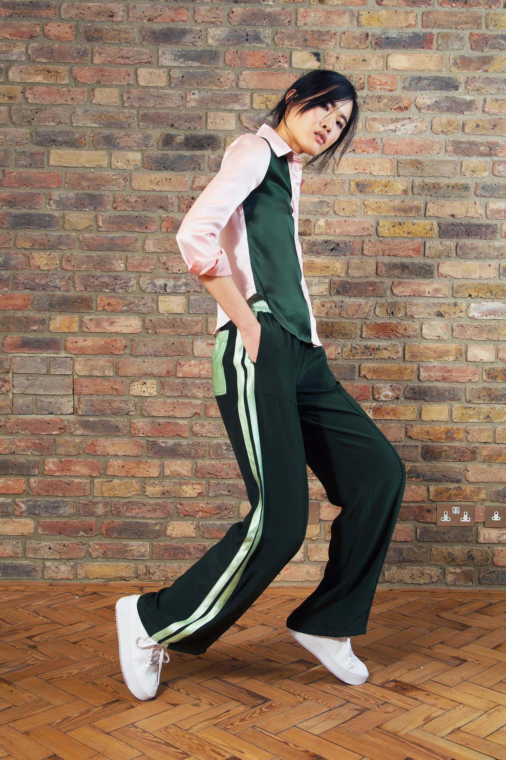 The Classic Jogger - Moss, Peppermint & Dusky Pink Silk