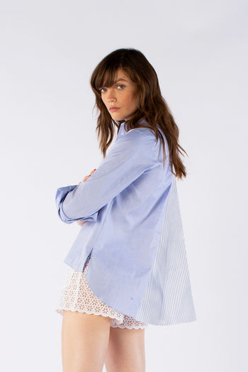 The Open Back Shirt - Blue Cotton - SERENA BUTE