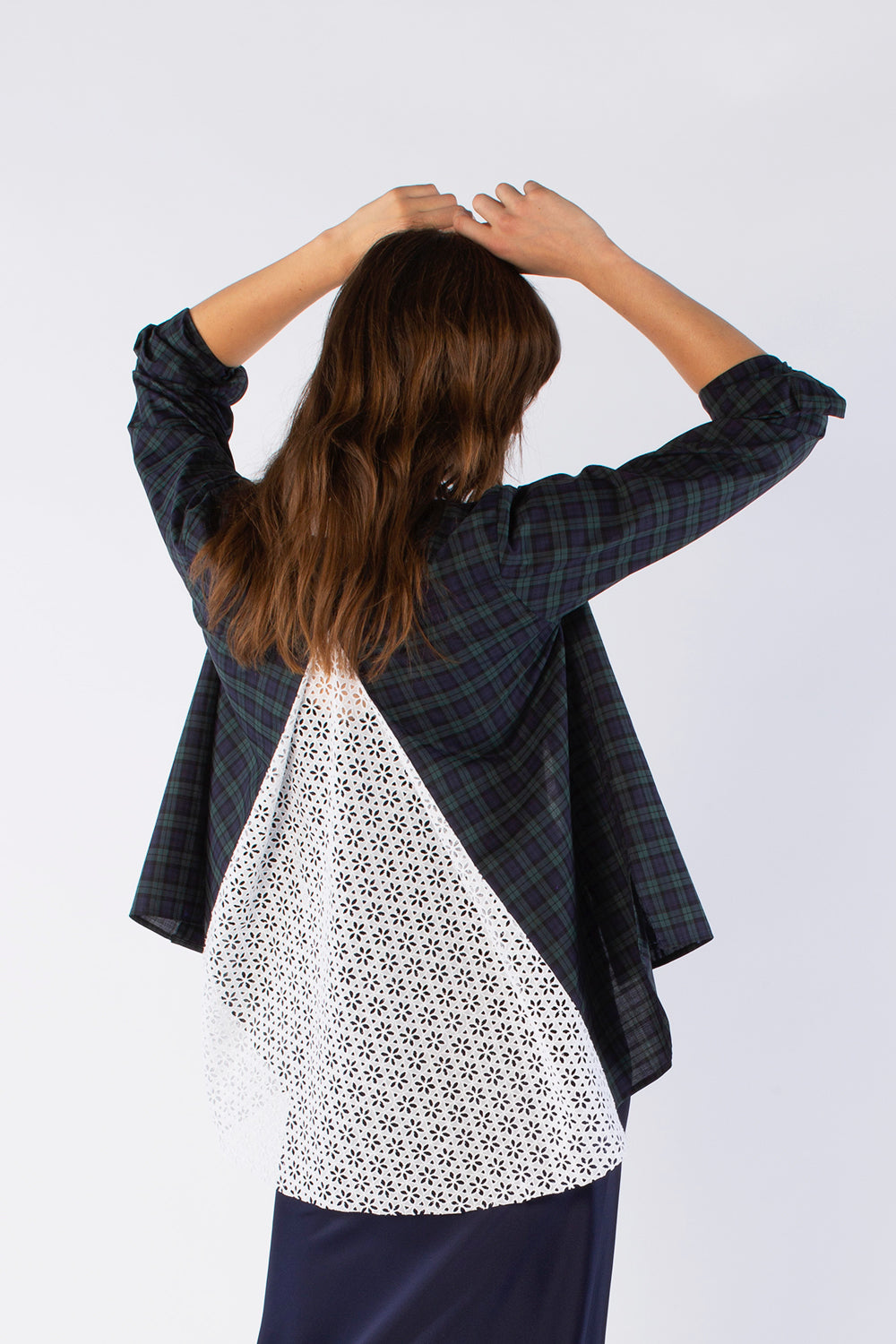 The Open Back Shirt - Navy & Green Plaid Cotton - SERENA BUTE