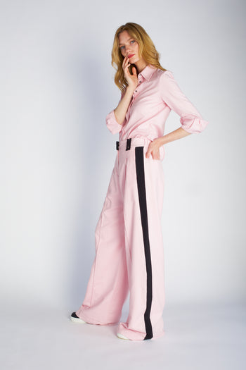 The Serena Trouser - Pale Pink & Black Brushed Cotton