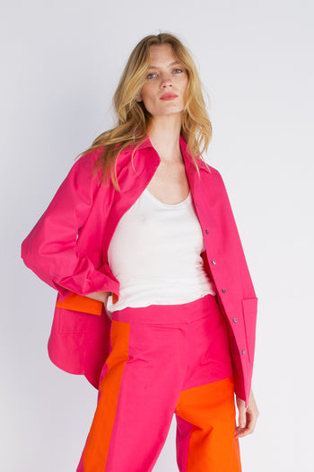 The Oversized Shirt - Pink & Orange Cotton