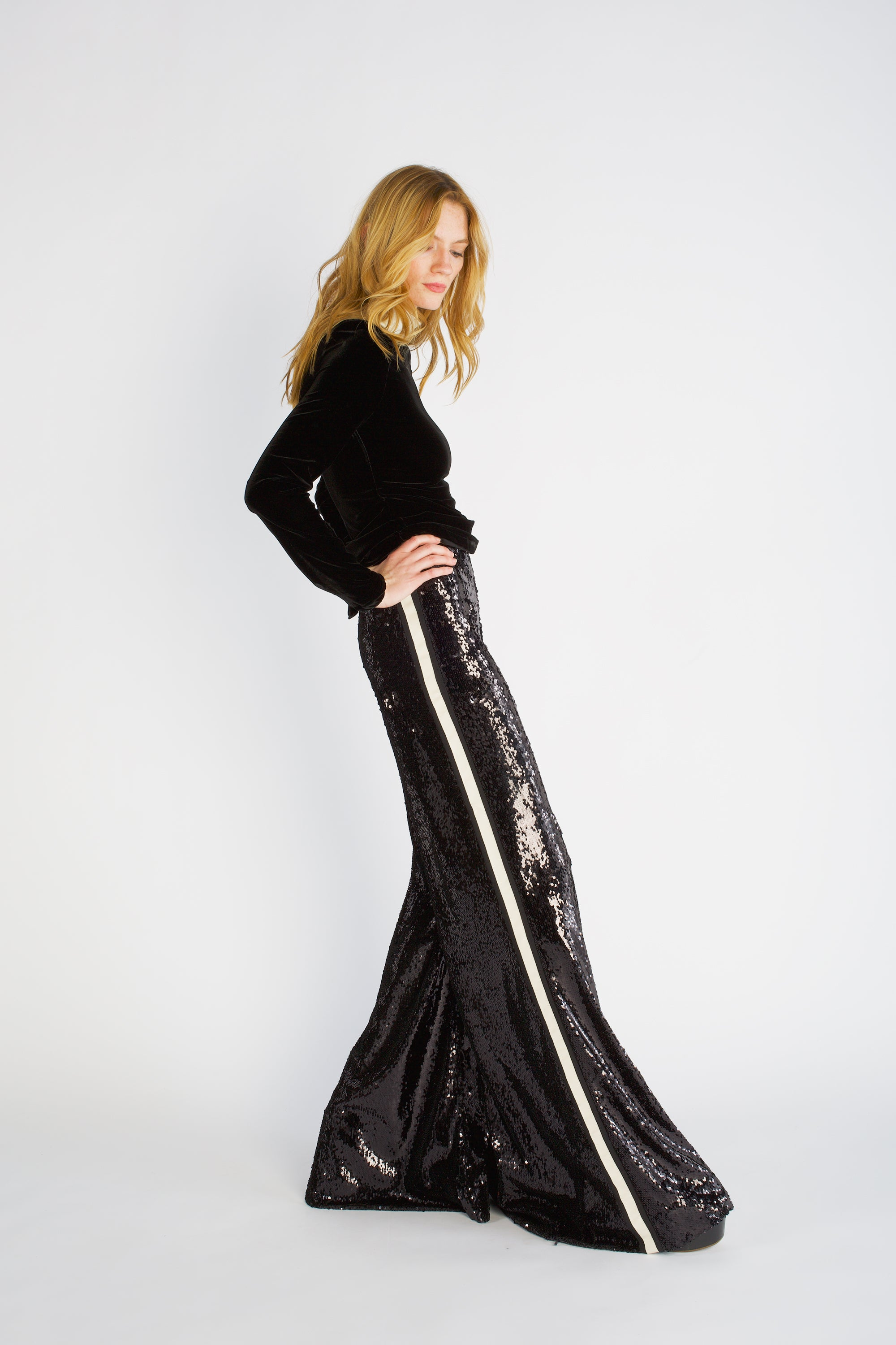 The Sequin Flare - Black & Ivory
