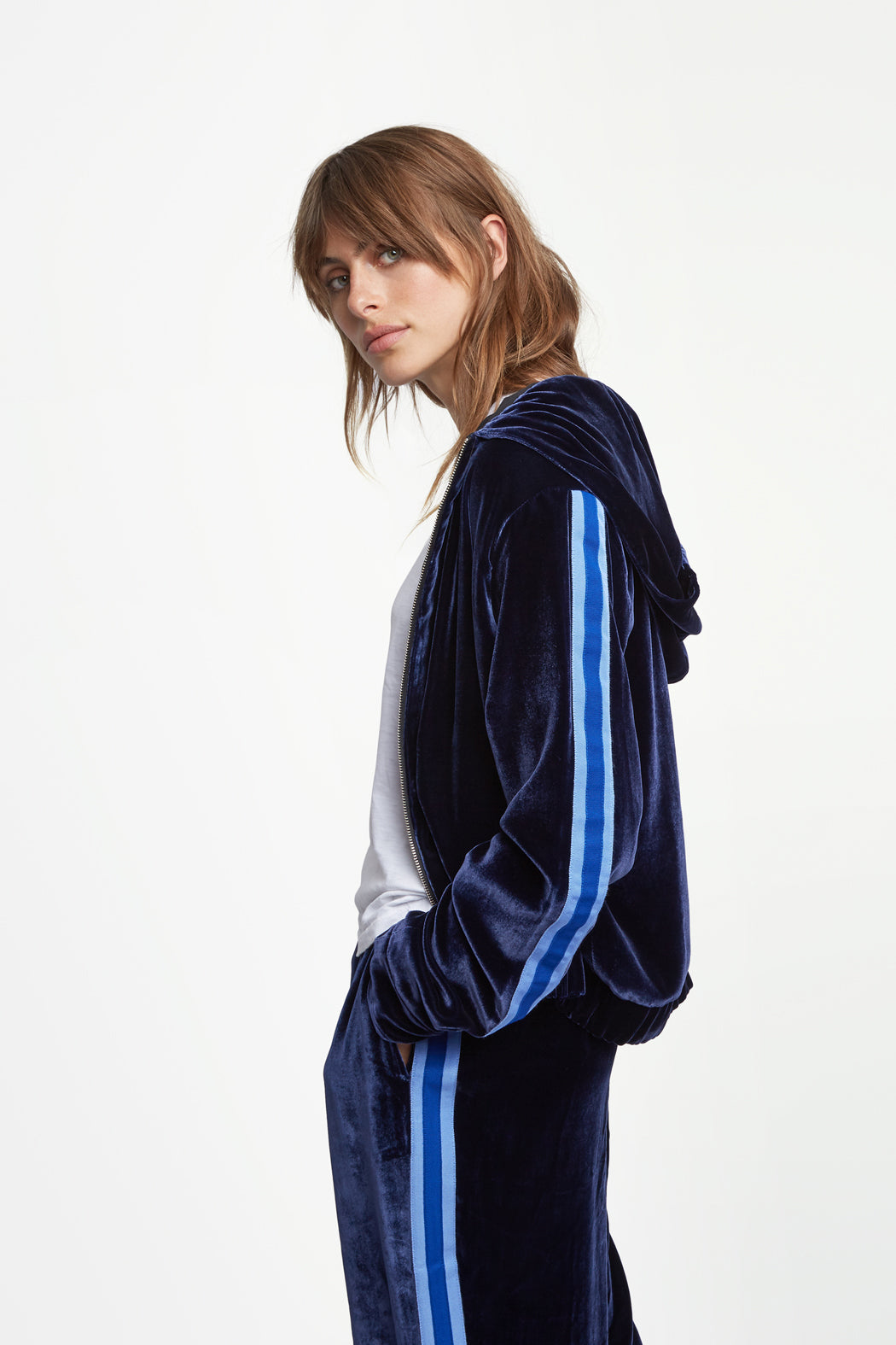 The Cropped Hoodie - Insignia, Navy & Blue Velvet - SERENA BUTE