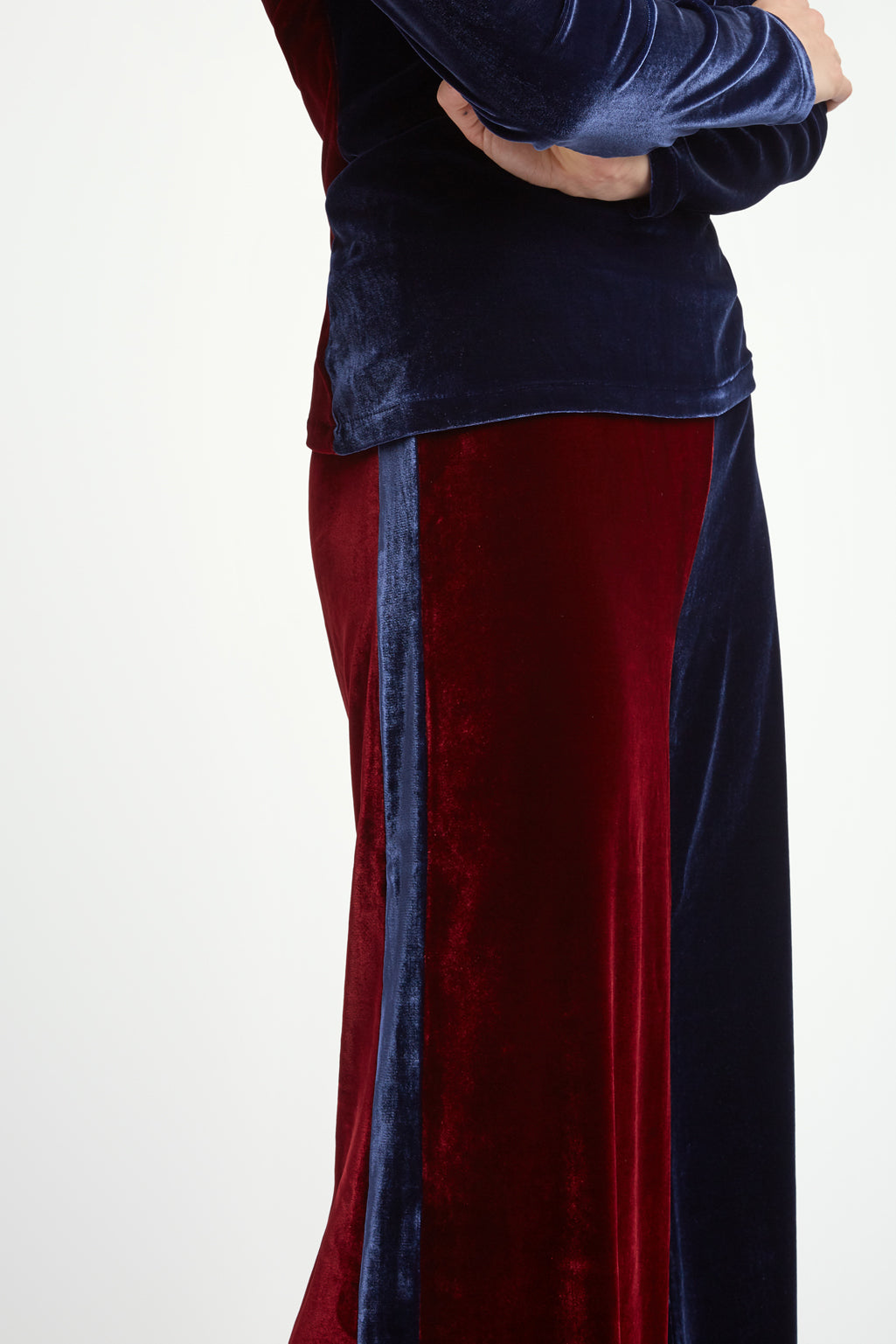 The Flare Trousers - Insignia & Burgundy Two Tone Stretch Velvet - SERENA BUTE