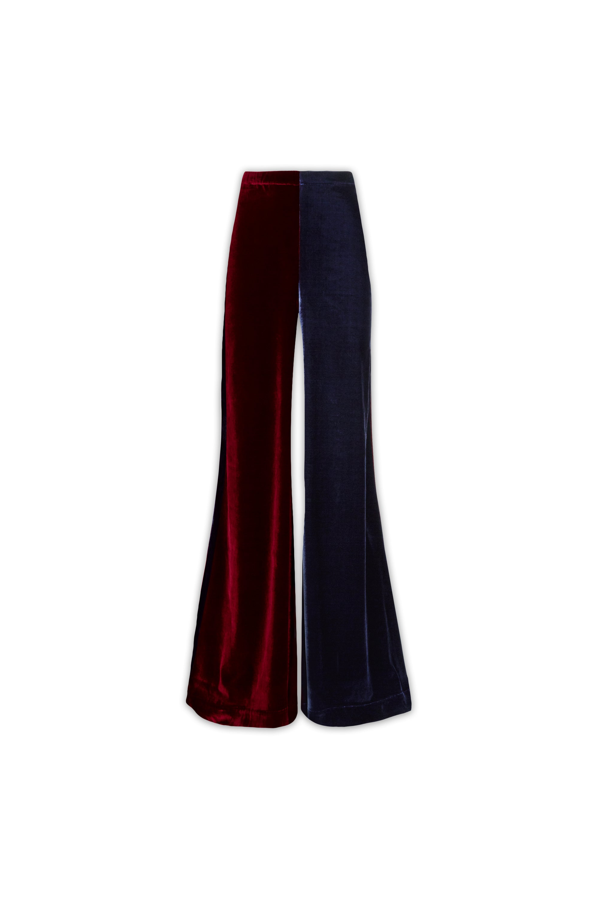 The Flare Trousers - Insignia & Burgundy Two Tone Stretch Velvet