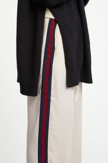 The Classic Jogger - Ivory Cream, Navy & Garnet Silk - SERENA BUTE