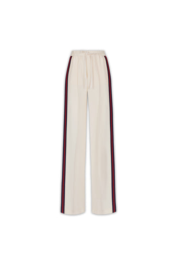 The Classic Jogger - Ivory Cream, Navy & Garnet Silk