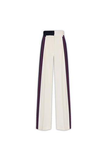 The Serena Trouser - Ivory Cream, Navy & Garnet Silk