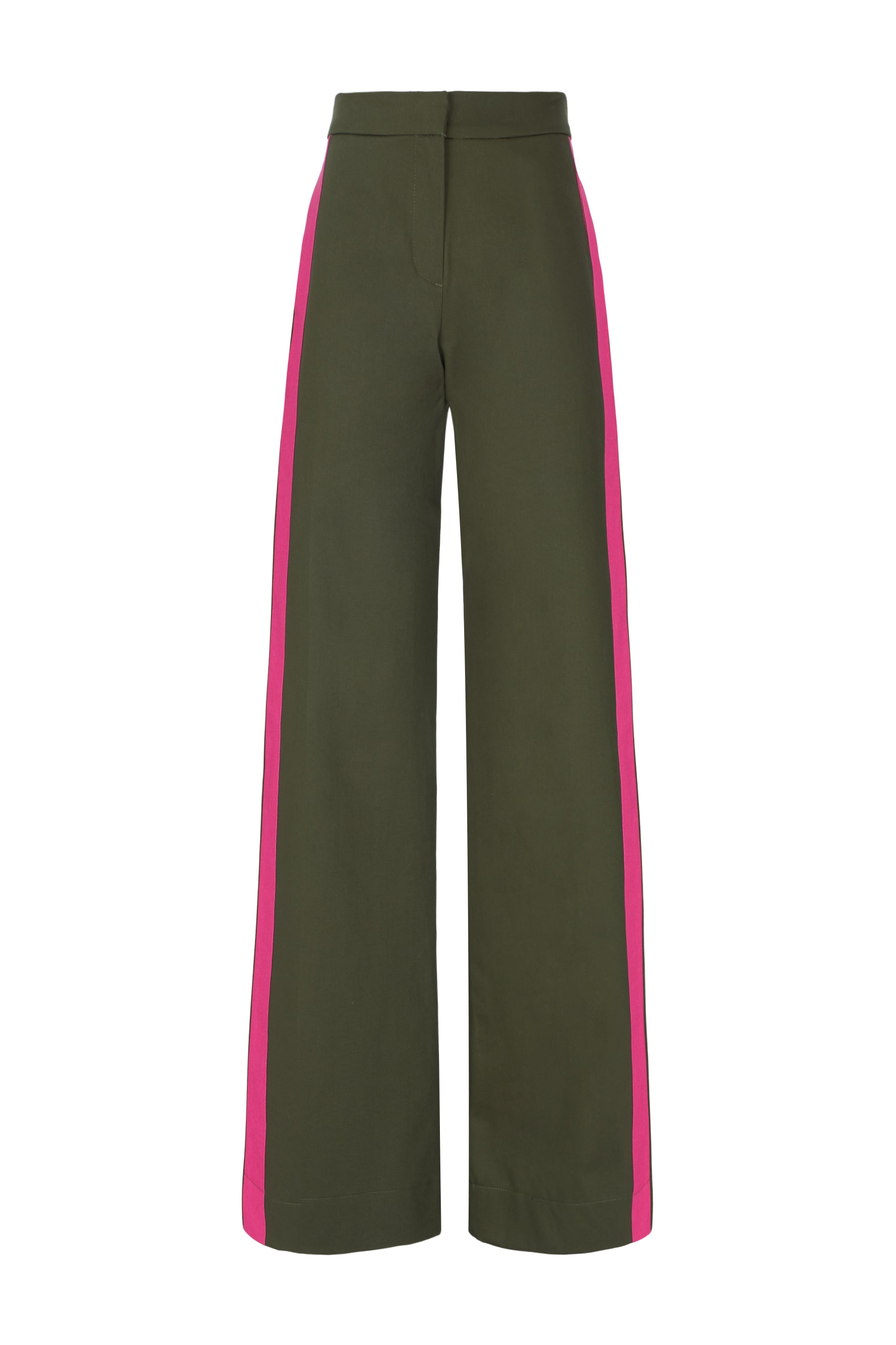 The Flat Front Trouser - Khaki & Pink Cotton