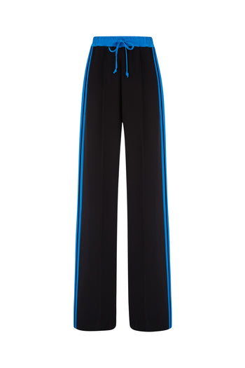 The Classic Jogger - Black & Kingfisher Blue Silk - SERENA BUTE