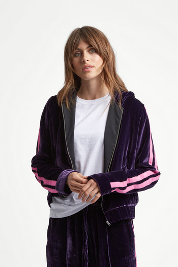 The Cropped Hoodie - Mulberry Purple & Pink Velvet - SERENA BUTE