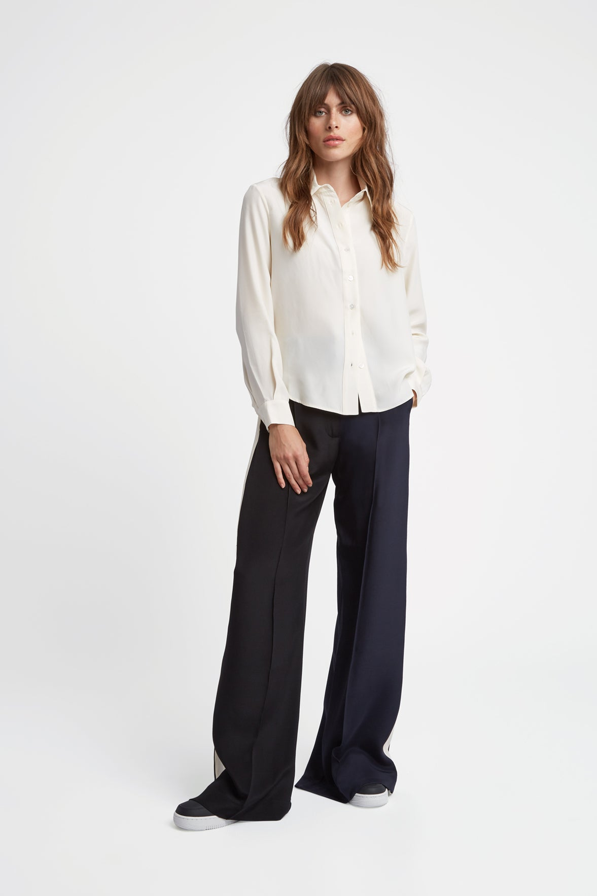 The Serena Trouser - Navy, Black & Ivory Cream Two Tone Silk - SERENA BUTE