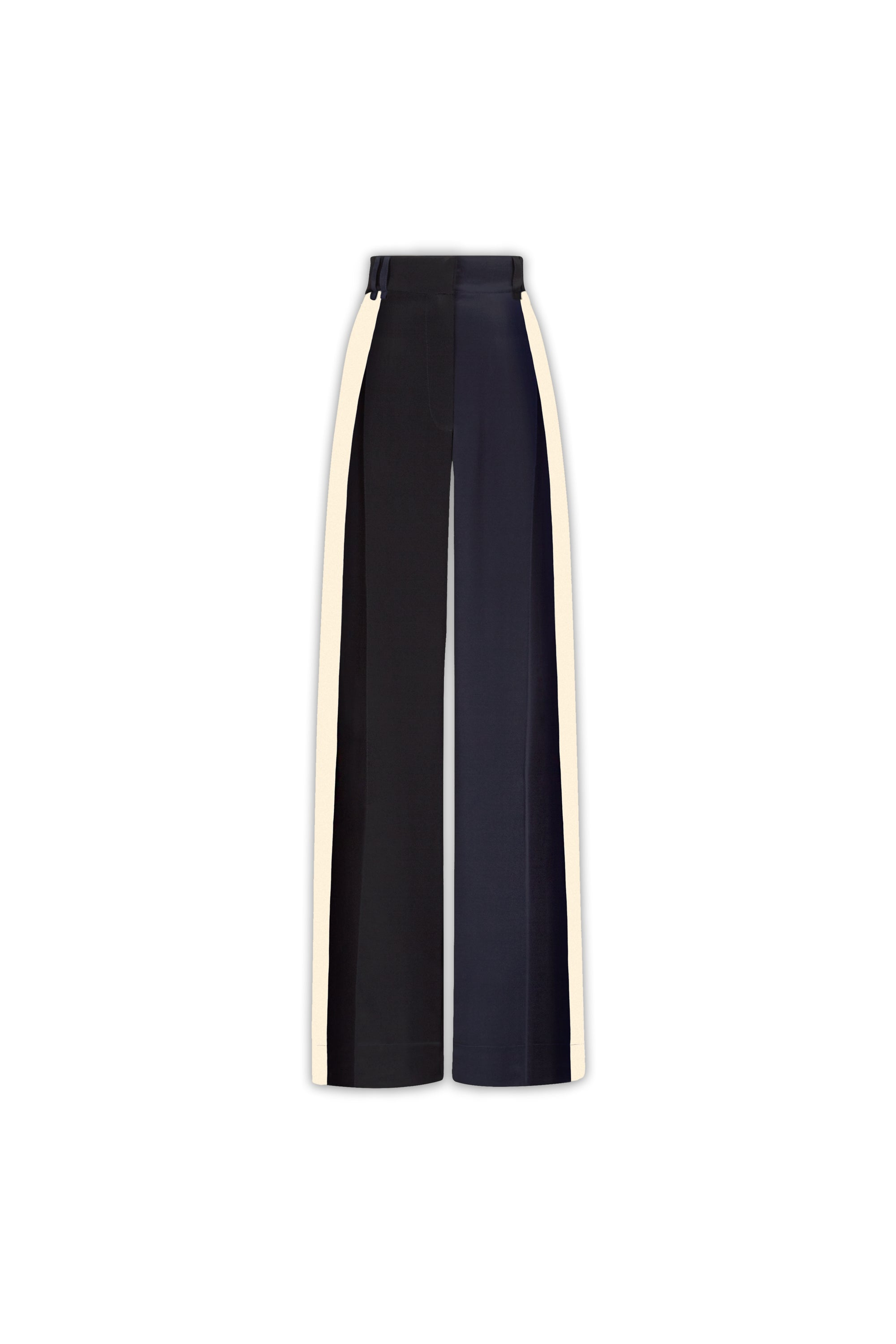 The Serena Trouser - Navy, Black & Ivory Cream Two Tone Silk