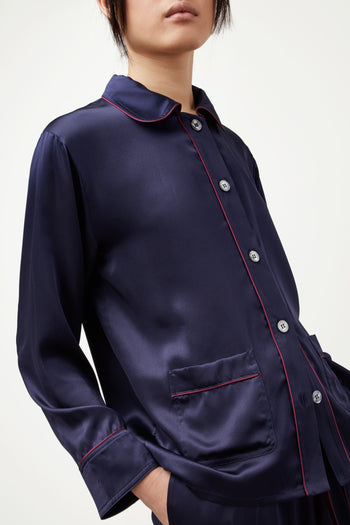 The Piped Shirt - Navy & Garnet Silk - SERENA BUTE