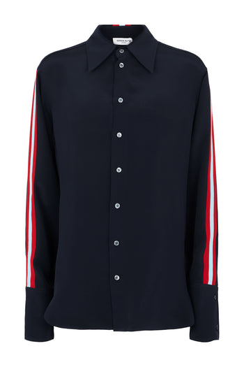 The Oversized Shirt - Navy, Red & Sky Blue Silk - SERENA BUTE