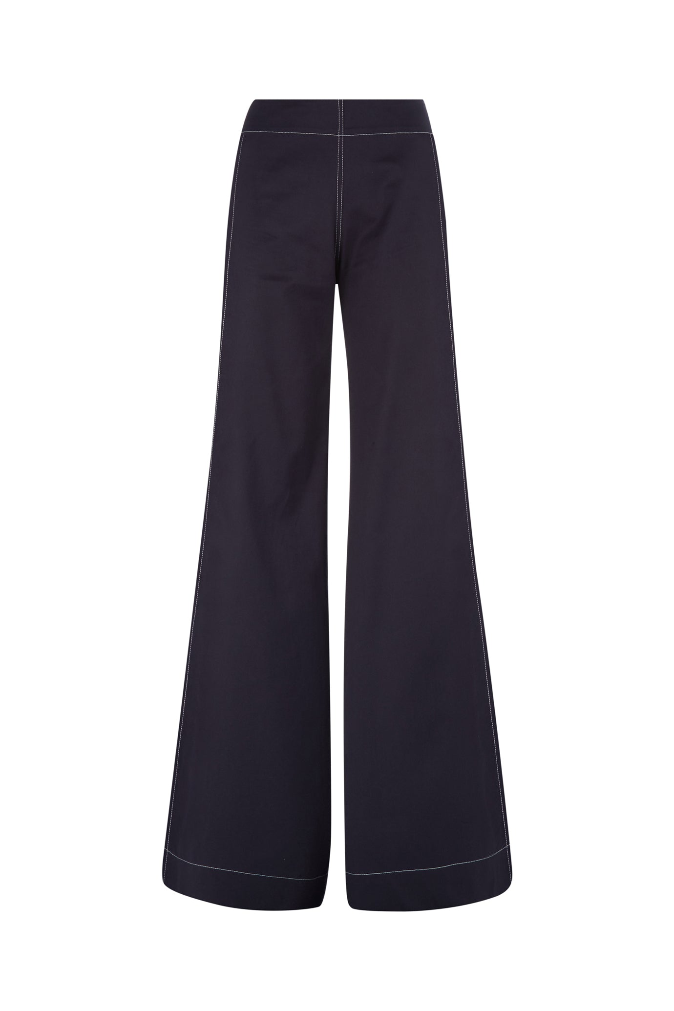 The Flare Trousers - Navy & White Cotton - SERENA BUTE
