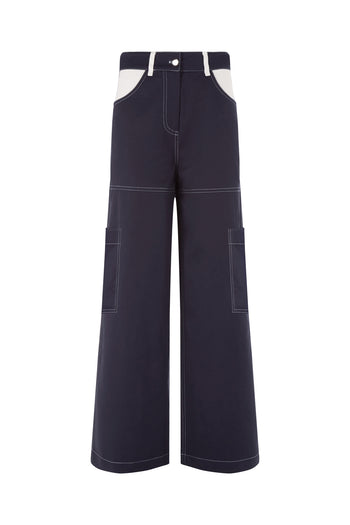 The Pocket Trouser - Navy & White Cotton - SERENA BUTE
