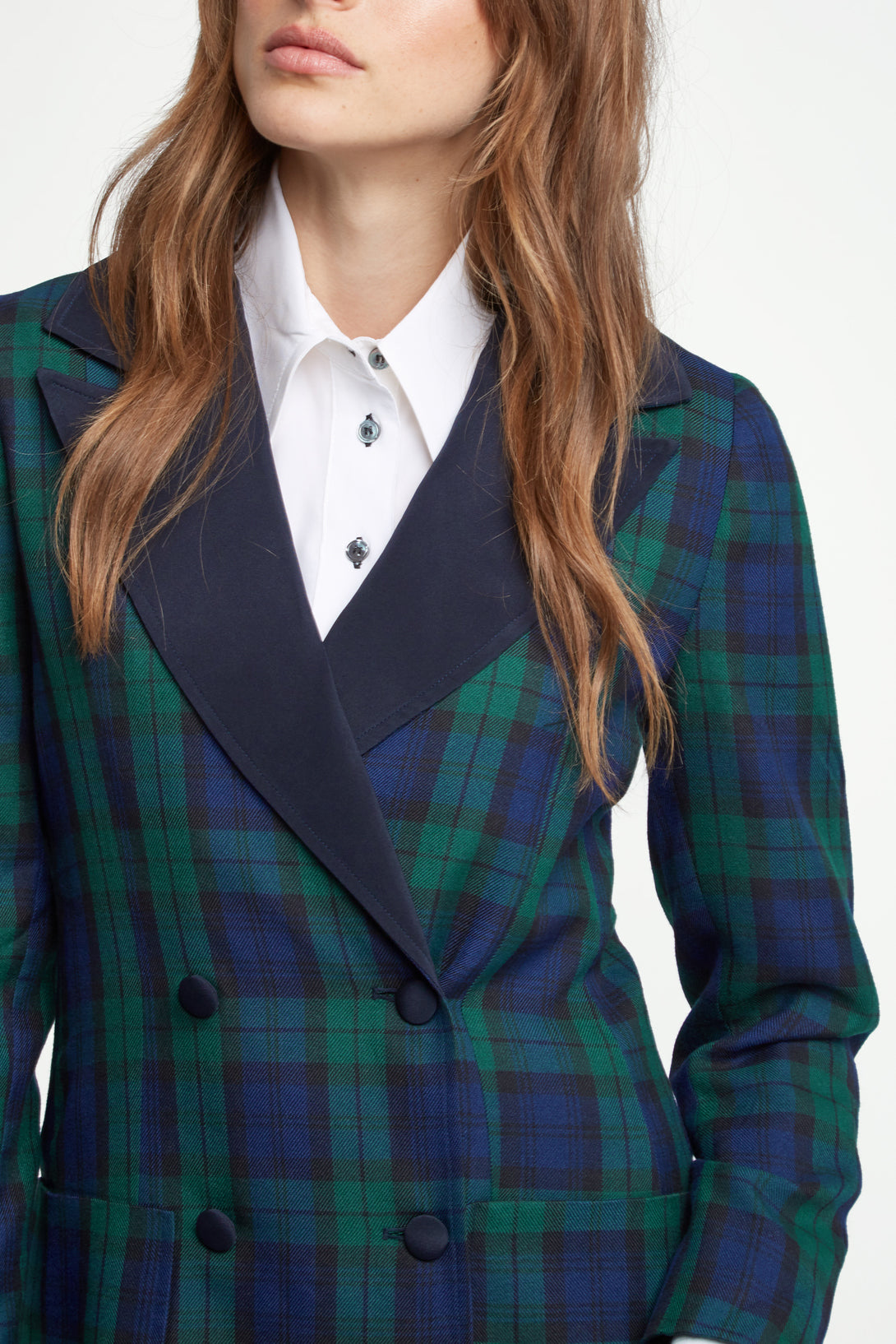 The Double Breasted Blazer - Navy & Green Plaid - SERENA BUTE