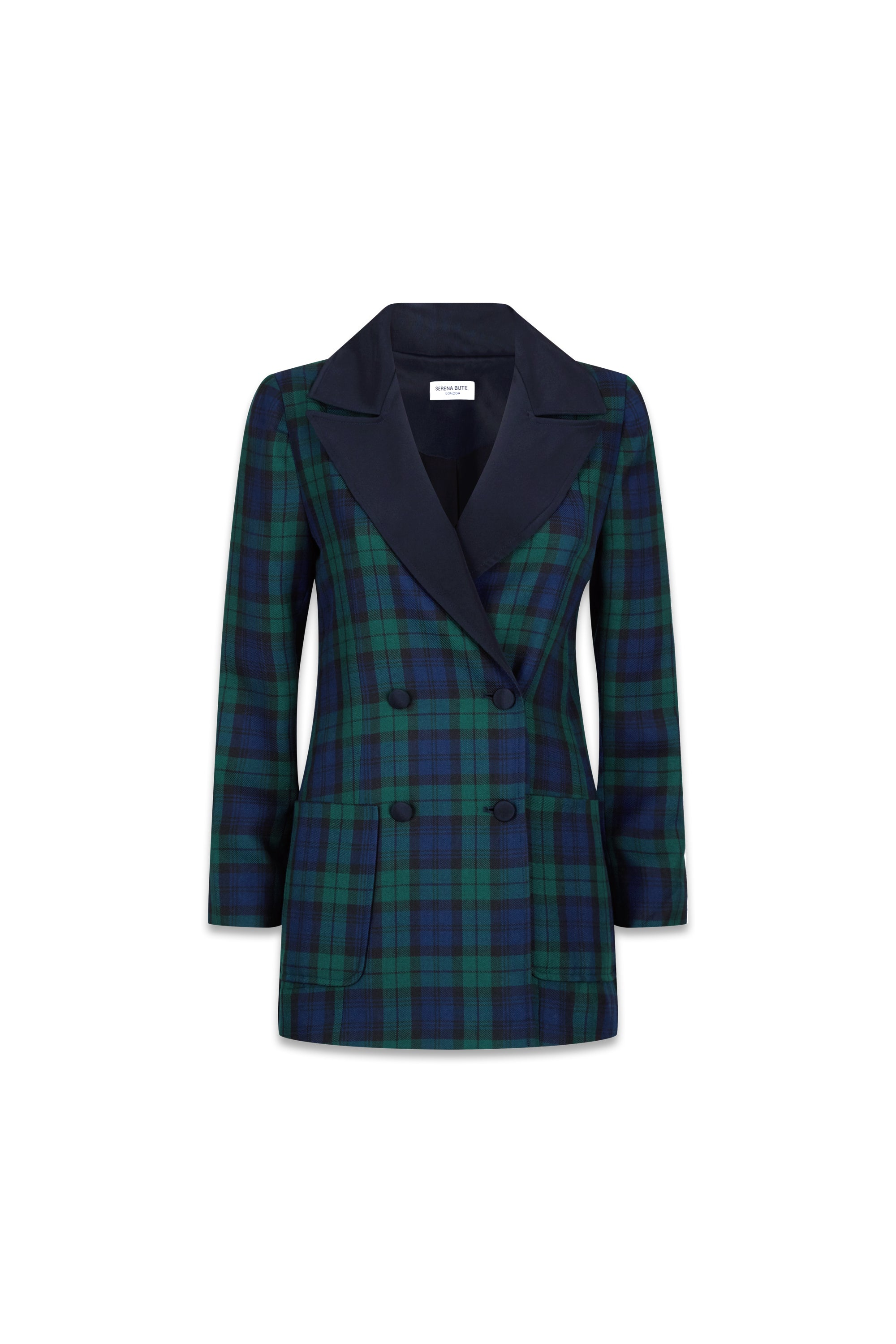 The Double Breasted Blazer - Navy & Green Plaid