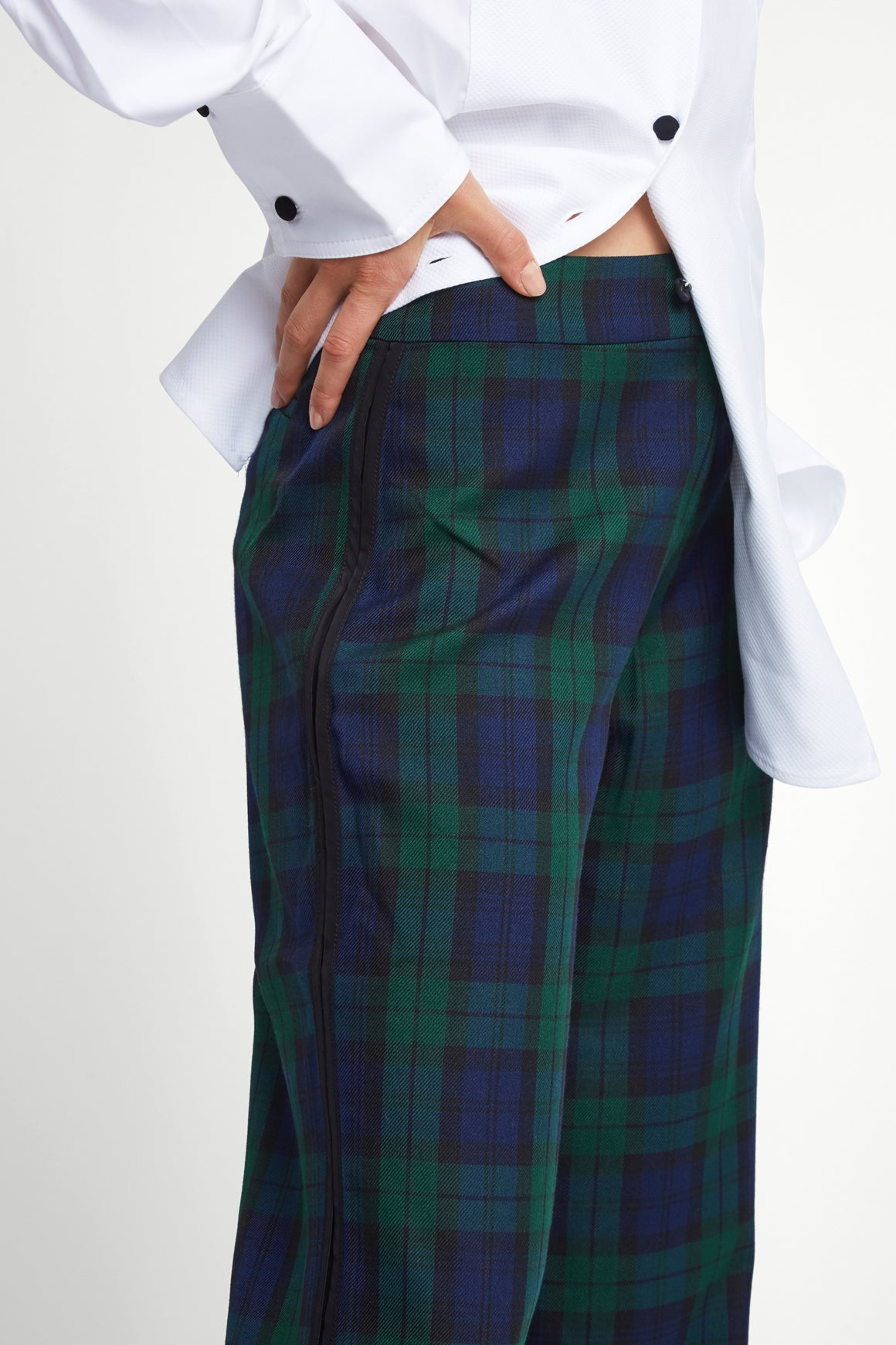 The Camilla Trousers - Navy & Green Plaid - SERENA BUTE