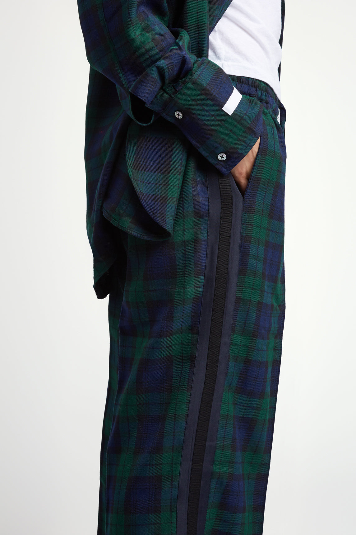 The Classic Jogger - Navy & Green Plaid Cotton - SERENA BUTE