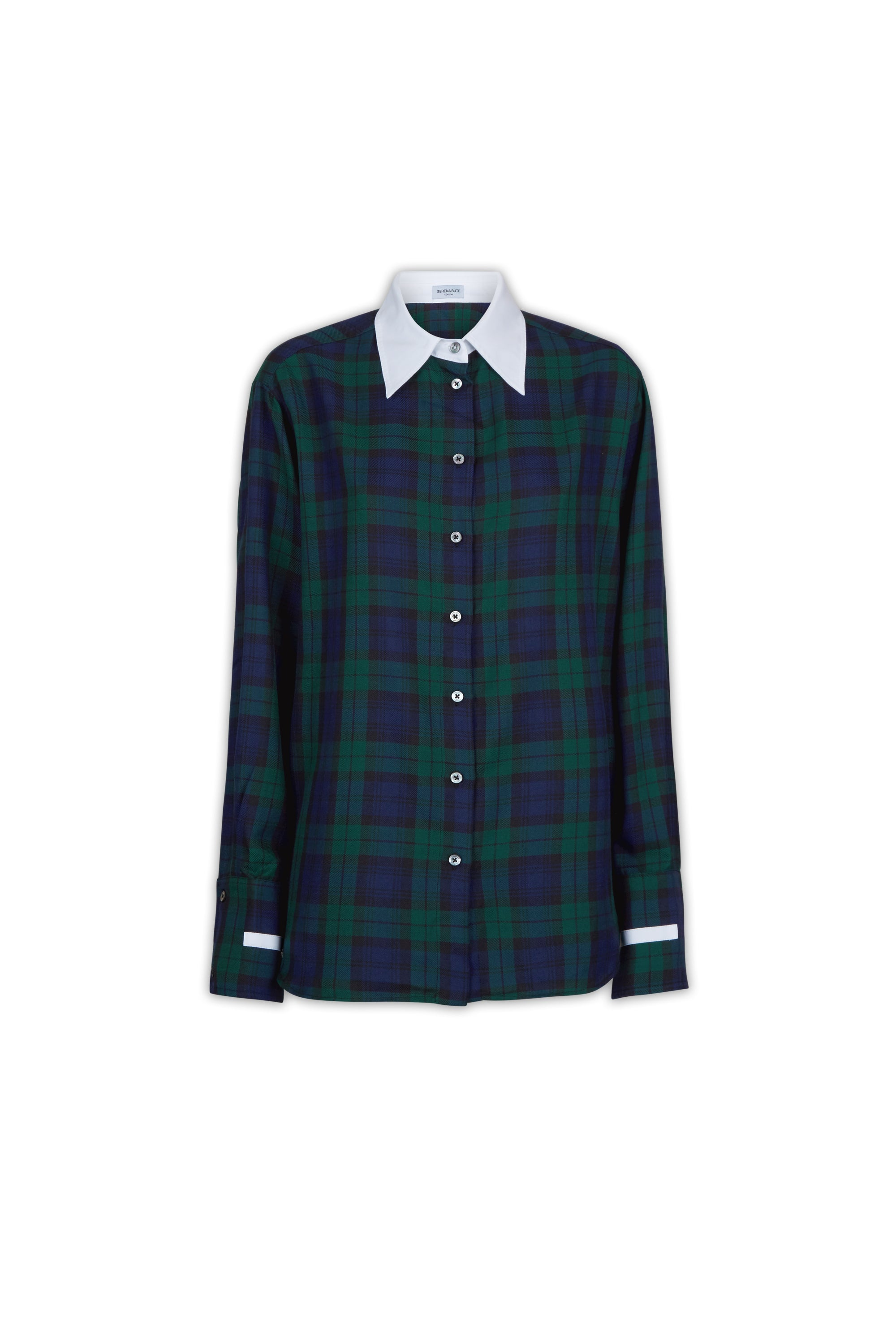 The Oversized Shirt - Navy & Green Plaid Cotton - SERENA BUTE