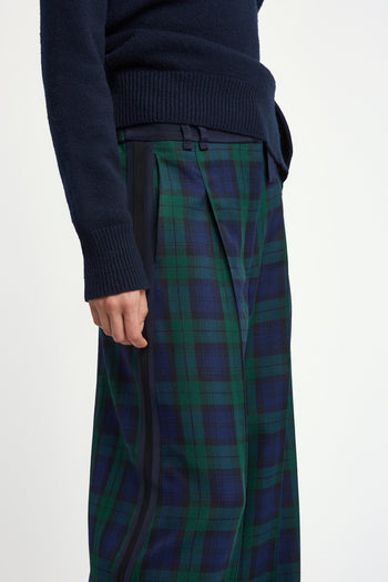The Serena Trouser - Navy & Green Plaid Cotton - SERENA BUTE