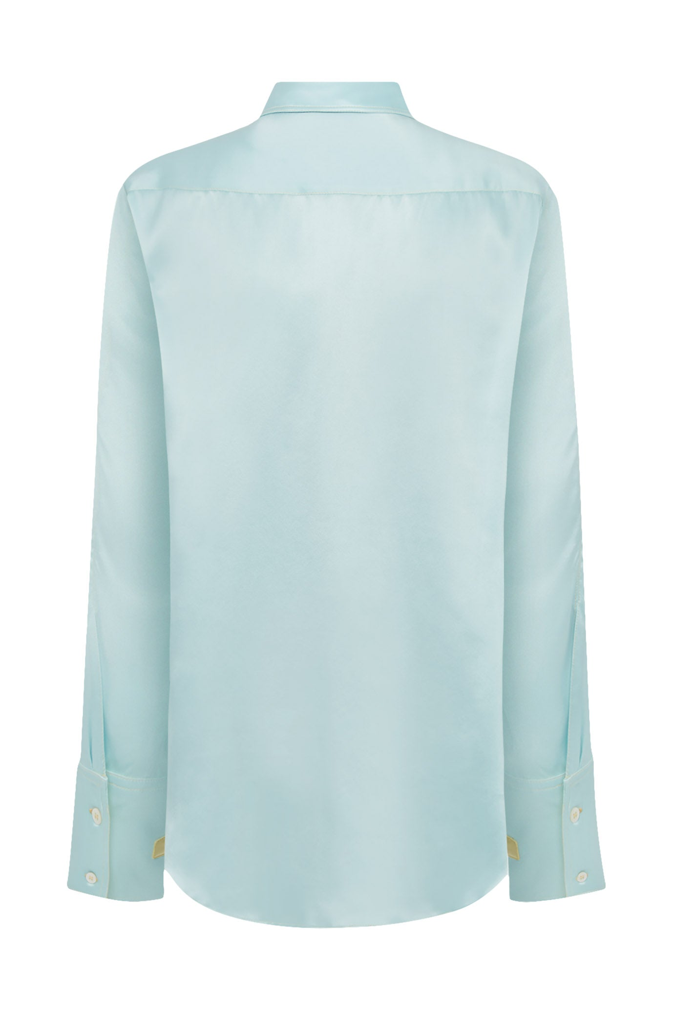 The Oversized Shirt - Spearmint & Buttermilk Yellow Silk - SERENA BUTE