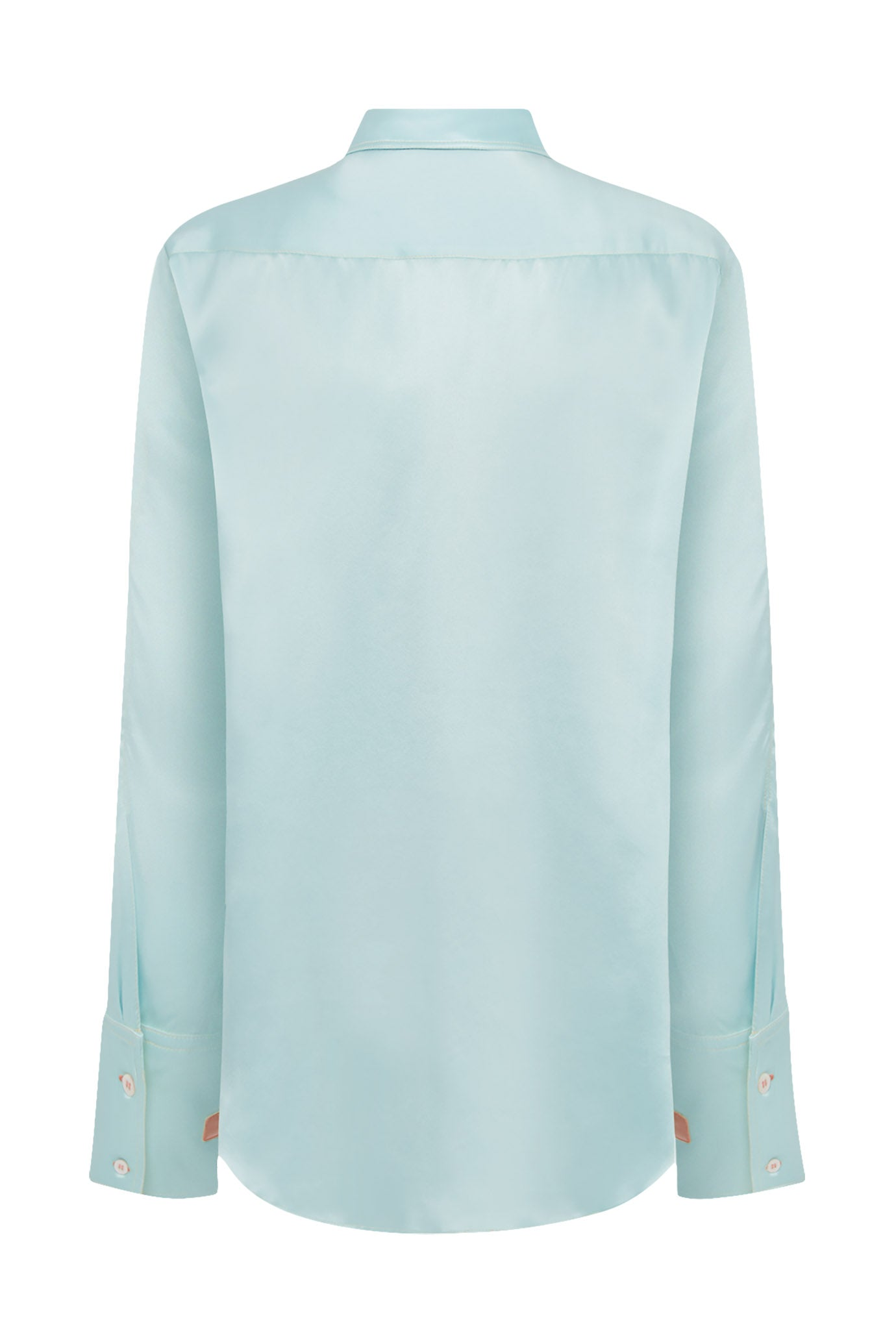 The Oversized Shirt - Spearmint & Dusky Pink Silk - SERENA BUTE